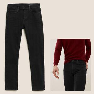 Mens M&S Autograph SLIM Fit Italian Jeans Black RRP £45 CURRENT LINE