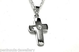 Sterling Silver CZ Cross Pendant and 18 inch chain Gift Boxed Necklace