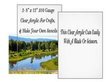 """2 Clear Thin Craft Plastic 8"""" x 12"""" .010 Gauge Make Your Own Stencils Templates"""