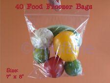 Plain 40 pack Strong resealable reuseable ziplock large Food Freezer Bags