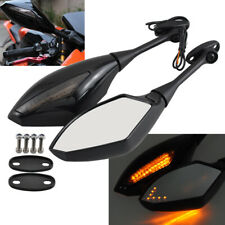 Left + Right Black Rear View Side Mirrors LED Turn Signal For Honda CBR600 F4I