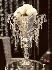 Acrylic Crystal Chandelier Top Vase Centerpiece Wedding Floral Party Event Decor