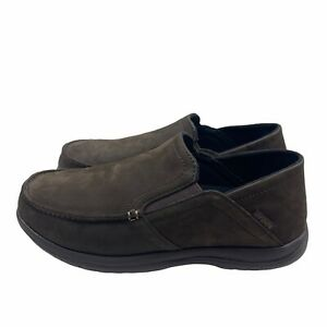 Crocs Santa Cruz Playa Convertible Leather Slip On Shoes Brown Men's Size 8