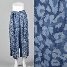 Small 1980s Blue Abstract Print Palazzo Pants Vtg Lightweight Elastic Waistband