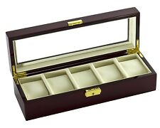 Diplomat See Through Window Clear Top Watch Case Box for 5 Watches Cherry Wood