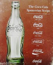 Coca Cola Spencerian Script TIN SIGN vintage bottle metal poster coke decor 1952