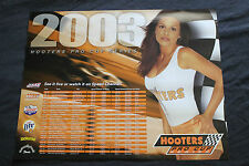 Rare 2003 Sexy Hooters Cup Girl in Uniform Miller Beer Lucas Oil Race Poster