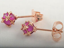 9K Rose Gold Filled Exquisite Ruby Ball Stud Earrings For Women free shipping