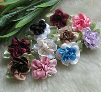 40pcs 2tone Satin Ribbon Flowers Bows Appliques Craft Wedding U pick MA005