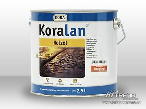 (€12,00/l) Koralan Holzöl 4 Dosen á 2,5 Ltr.=10 Ltr Bilinga, Bangkirai, Garapa