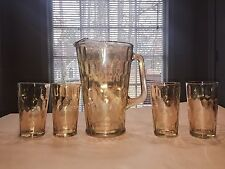 "1950'S JEANETTE HONEYCOMB MARIGOLD CARNIVAL 9"" GLASS PITCHER & 4 5"" TUMBLERS"