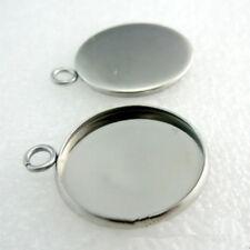 10pcs 25mm Silver Base Blank Bezel Cabochon Setting Jewelry Round Pendant Trays