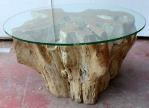 Small Table From Coffee IN Root Of Teak With Glass CMS 80x45h Smoke N 2 Briar