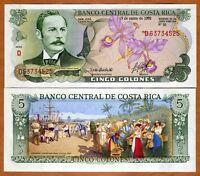 Costa Rica, 5 Colones, 1992, P-236e, UNC -> colorful, last date