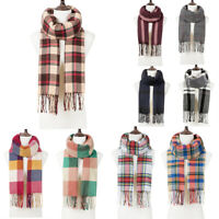 Women Lady Winter Warm Scarf Cashmere Long Wrap Shawl Plaid Knit Scarf Pashmina