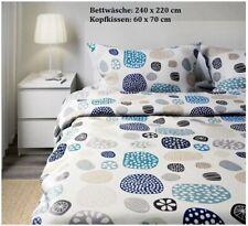 IKEA RINGKRAGE  Bettwäscheset, 3-teilig, blau weiß & bunt 240x220/60x70cm NEU