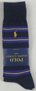 Polo Ralph Lauren 2 Pairs Navy Blue Royal Blue Yellow Striped Dress Socks NWT