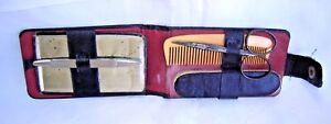 Vintage Black Leather-Manicure Kit-Travel Accessories-Mirror/Scissors/Comb/File