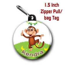 2 Personalized 1.5 Inch Cute Monkey Zipper Pull/Bag Tags with Name of choice