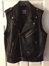 Mens ALLSTATE LEATHER Sleeveless Leather Motorcycle Jacket Vest Black SIZE 46