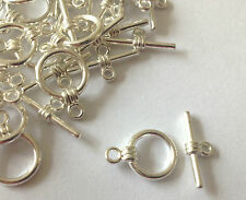 TIBETAN SILVER ROUND TOGGLE CLASPS JEWELLERY FINDINGS FOR NECKLACES BRACELETS