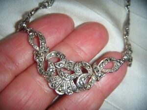BY SPHINX SUPERB QUALITY VINTAGE REAL MARCASITE RHODIUM PLATED NECKLACE GIFT