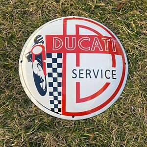"VINTAGE DUCATI SERVICE PORCELAIN METAL 12"" MOTORCYCLE BIKE GAS OIL BUTTON SIGN!"