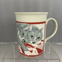 Vintage Otagiri Japan Curtis Swann Gray White Cat Kitty Mug Cup Red Coffee Tea