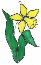 Yellow Daffodil Jonquil Stained Glass Suncatcher
