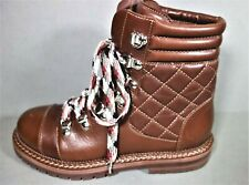 """CHANEL 36.5 Lace Up """"CC"""" Brown Quilted Leather Biker Ankle Boots Booties NEW"""