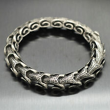 Vintage Silver Stainless Steel Dragon Snake Bone Link Chain Bracelet Wristband