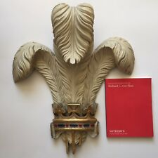19th Century Parcel-Gilt Painted Carving Prince of Wales Feathers Plume