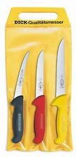 F. Dick (8255100) Set of 3 Ergogrip Knives, 3 colors in pouch