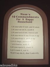 Brand New MOM'S Ten 10 Commandments Wooden Wall PLAQUE HAPPY Household Rules