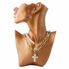 Mujer Collar de Cruz para Oro Plata Gargantilla Cadena Colgante Perlas Lujo