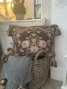 Vintage Laura Ashley Floral Tapestry Tassel Feather Cushion