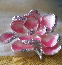 Vintage Monet Signed Pink Rose Enamel Rhinestoned Flower Silver Tone Pin Brooch