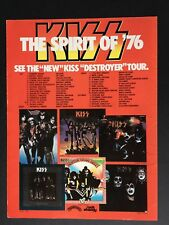"1976 Original KISS Tour Schedule  8.5X11"" ""Spirit Of 76 Destroyer Tour"" Promo Ad"