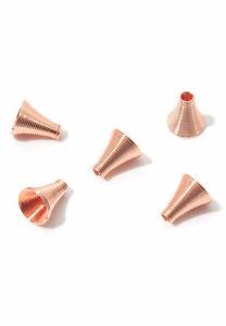 Lady-Muck1: 5/10/20 Rose Gold & Platinum Ribbed Spiral Bead Cone Caps UK SELLER