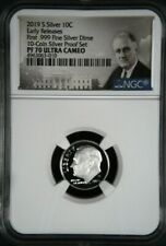 2019 S First .999 Fine Silver Proof Dime 10c NGC PF70 UC Early  Roosevelt Label