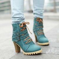Punk Womens Lace up Buckle Strap Block Heel Shoes Belt Retro Comfy Ankle Boots