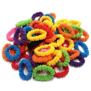 Pack Of 50 Ruffle Assorted Colours Girls Kids Elastic Hair Band Bobbles