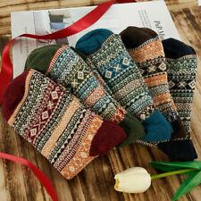 5Pair Retro Mens Women Wool Cashmere Socks Thick Warm Casual Soft Winter Fashion