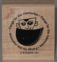 """Stampin' Up! Rubber Stamp Dracula """"Fangs for the memories"""" Halloween 1.5""""x1.75"""""""