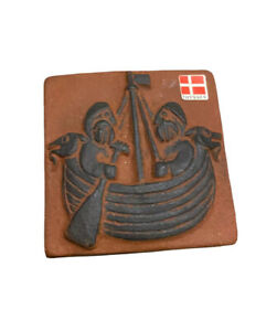 Vintage Thyssen Keramik viking warriors pottery tile Danmark Ceramic Clay Red