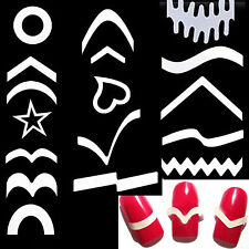 12 Sheets/Set  French Manicure DIY Nail Art Tips Guides Stickers Stencil Strips