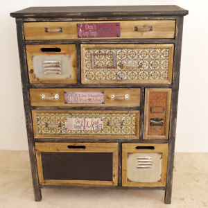 Rustic Storage Cabinet 8 Drawers Colourfull Wooden Sideboard Vintage Text Plates