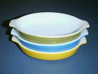 Vintage PYREX Tableware by Corning 700 Au Gratin Casserole Set GREEN YELLOW BLUE