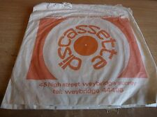 RARE RECORD SHOP PAPER BAG FROM 1970's - DISCASSETTE - WEYBRIDGE - VERSION 2