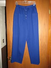 Vintage Sonia Rykiel Royal Blue Wool Knit Button Fly Pleated High Waist Pants 42